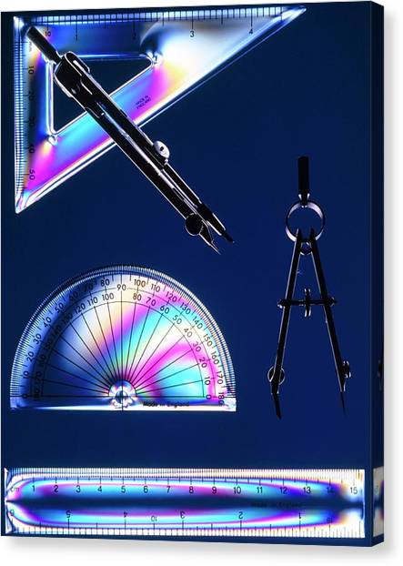 Protractors Canvas Print - Geometry Instruments by Peter Aprahamian/science Photo Library.