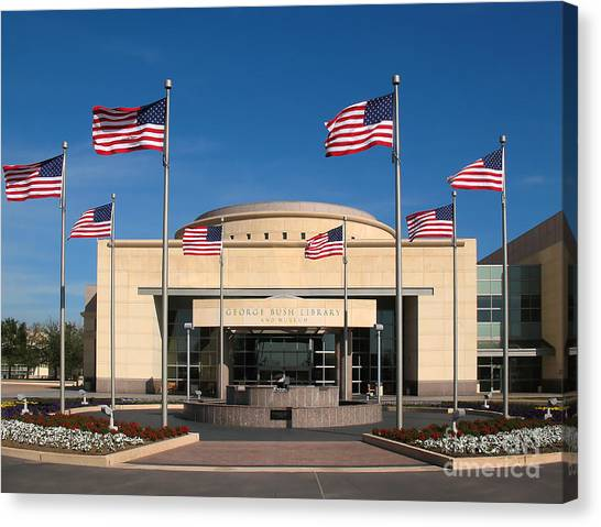 George Bush Canvas Print - George Bush Presidential Library - College Station Texas by Connie Fox