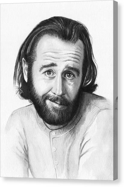 Celebrity Canvas Print - George Carlin Portrait by Olga Shvartsur