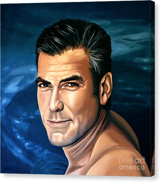 Robins Canvas Print - George Clooney 2 by Paul Meijering