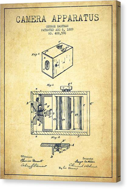 Vintage Camera Canvas Print - George Eastman Camera Apparatus Patent From 1889 - Vintage by Aged Pixel