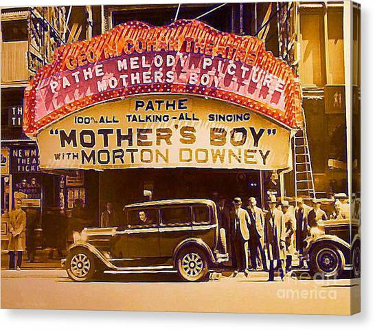 George M. Cohan Theatre In New York City In 1929 Canvas Print by Dwight Goss