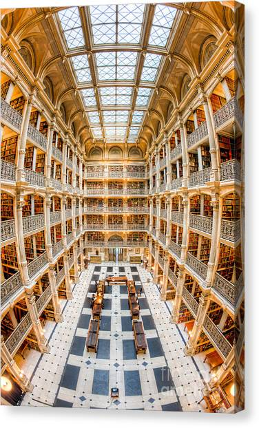 Johns Hopkins University Canvas Print - George Peabody Library IIi by Clarence Holmes