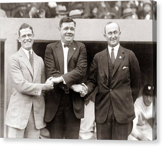 Ty Cobb Canvas Print - George Sisler Babe Ruth Ty Cobb by Unknown