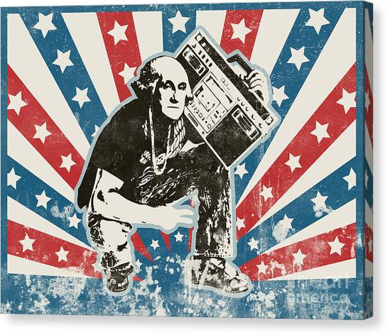Graffiti Canvas Print - George Washington - Boombox by Pixel Chimp
