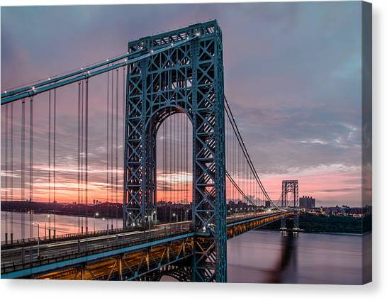 George Washington Bridge At Twilight Canvas Print