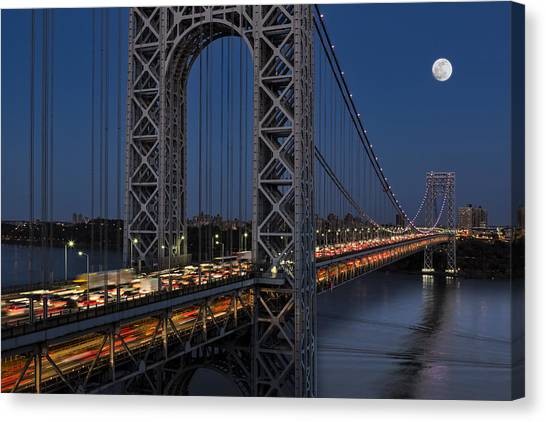 The City That Never Sleeps Canvas Print - George Washington Bridge Moon Rise by Susan Candelario