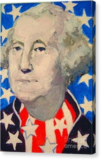 George Washington In Stars And Stripes Canvas Print
