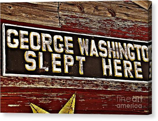 George Washington Slept Here Old Sign Canvas Print by JW Hanley