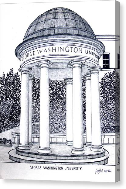 Colleges And Universities Canvas Print - George Washington University by Frederic Kohli