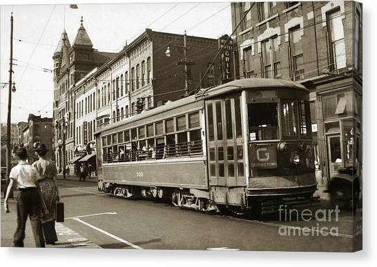 Georgetown Trolley E Market St Wilkes Barre Pa By City Hall Mid 1900s Canvas Print