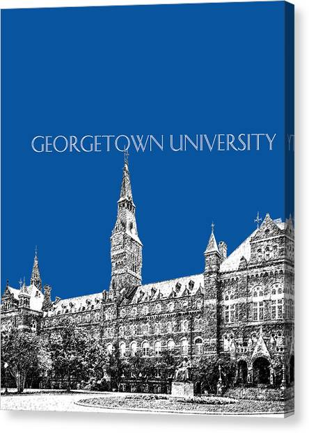 Colleges And Universities Canvas Print - Georgetown University - Royal Blue by DB Artist