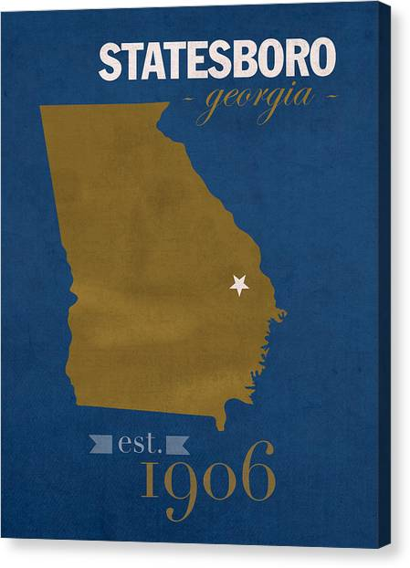 Sun Belt Canvas Print - Georgia Southern University Eagles Statesboro College Town State Map Poster Series No 041 by Design Turnpike