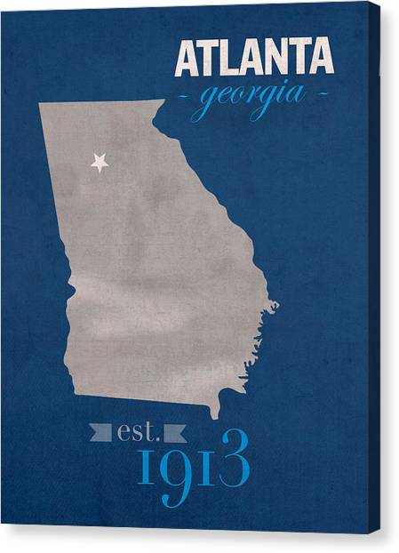 Sun Belt Canvas Print - Georgia State University Panthers Atlanta College Town State Map Poster Series No 042 by Design Turnpike