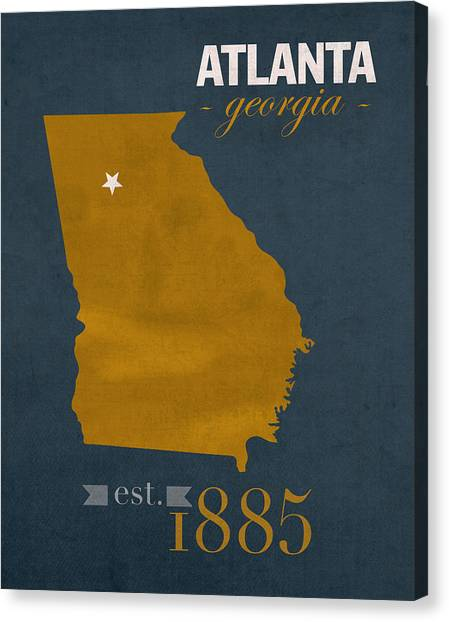Georgia State University Canvas Print - Georgia Tech University Yellow Jackets Atlanta College Town State Map Poster Series No 043 by Design Turnpike
