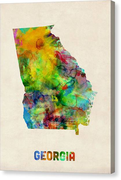 Georgia Canvas Print - Georgia Watercolor Map by Michael Tompsett