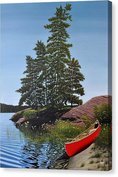 Georgian Bay Beached Canoe Canvas Print