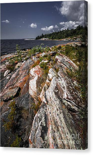 Lake Huron Canvas Print - Georgian Bay Rocks by Elena Elisseeva