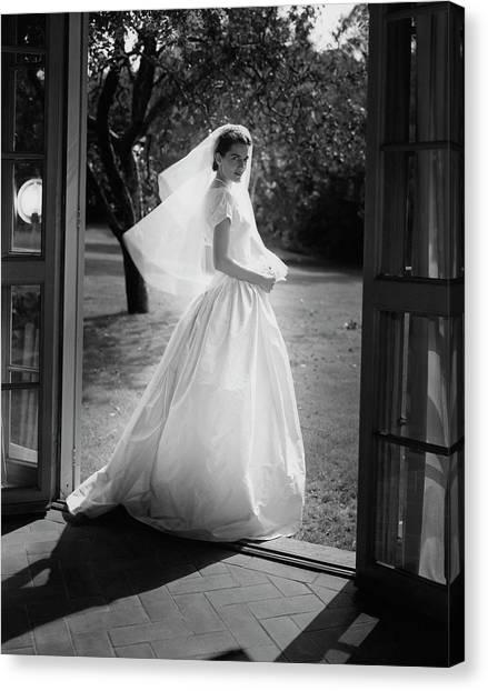 Geraldine Kohlenberg Wearing A Wedding Dress Canvas Print by Horst P. Horst