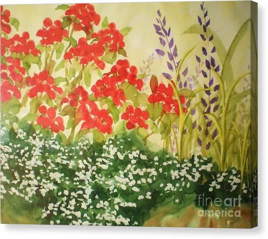 Geraniums And Friends Canvas Print