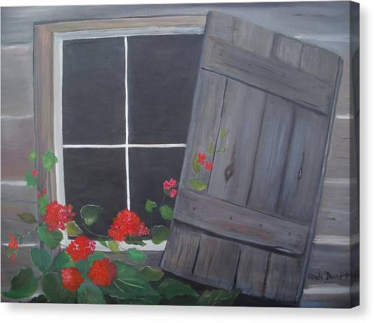 Geraniums At Log Cabin Canvas Print by Glenda Barrett