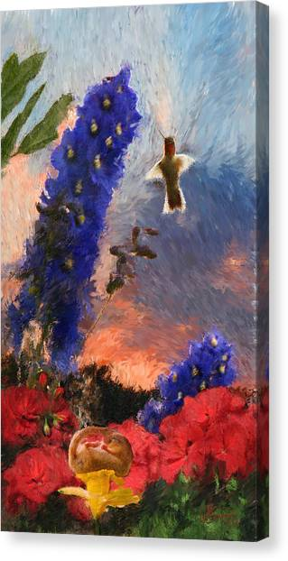 Geraniums Red And Delphiniums Blue Canvas Print