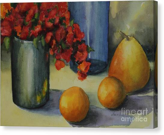 Vase Of Flowers Canvas Print - Geraniums With Pear And Oranges by Maria Hunt