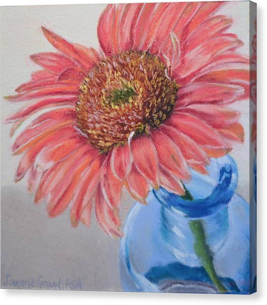 Gerbera Daisy With Blue Glass Canvas Print