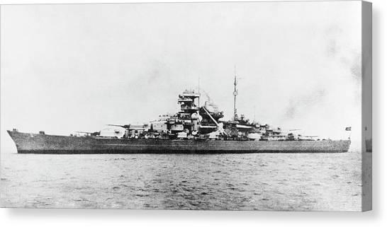 German Battleship Bismarck Canvas Print by Us Navy/science Photo Library