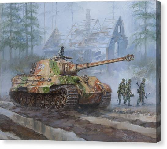 Tanks Canvas Print - German King Tiger Tank In The Battle Of The Bulge by Philip Arena