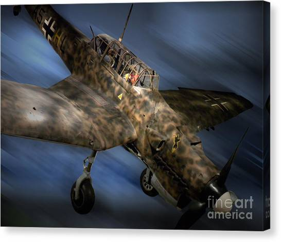 Blue Camo Canvas Print - German Luftwaffe Wwii Stuka Dive Bomber Plane by Thomas Woolworth
