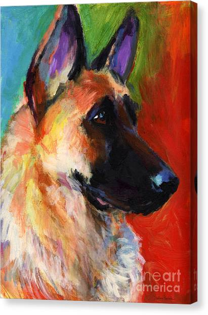 German Shepherd Dog Portrait Canvas Print