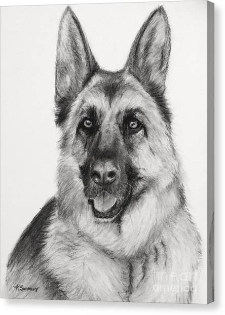 German Shepherd Drawn In Charcoal Canvas Print