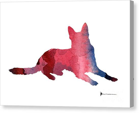 German Shepherds Canvas Print - German Shepherd Watercolor Art Print by Joanna Szmerdt