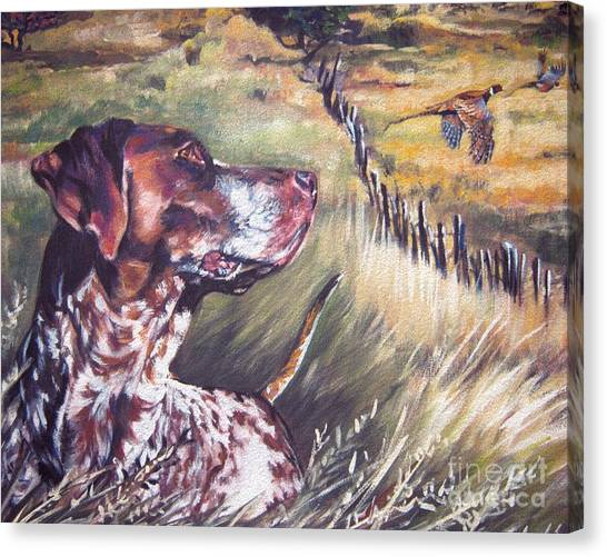 Pheasants Canvas Print - German Shorthaired Pointer And Pheasants by Lee Ann Shepard