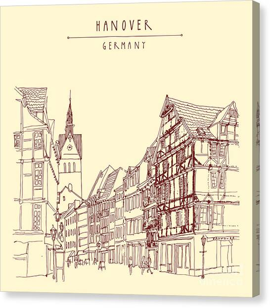 German Canvas Print - German Town, Walking Street, Timber by Babayuka
