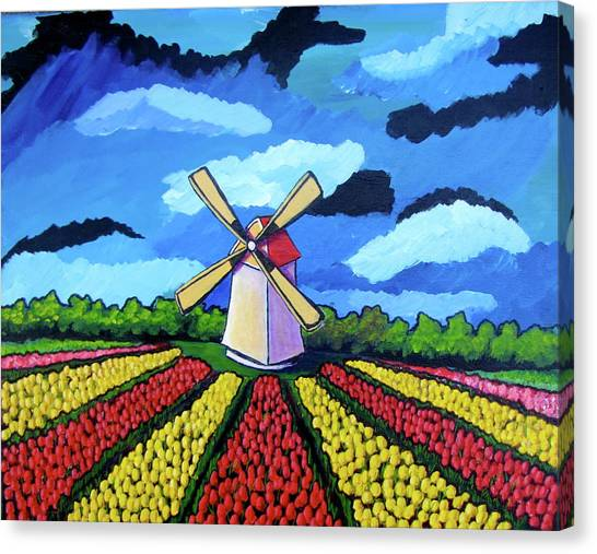 German Tulip Field Canvas Print