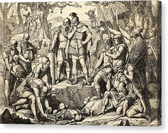 The Legion Canvas Print - Germanicus Buries The Remains by Mary Evans Picture Library