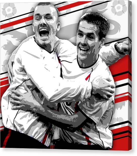 Manchester United Canvas Print - Germany 1 England 5 - Beckham And Owen Celebrate by Pro Prints