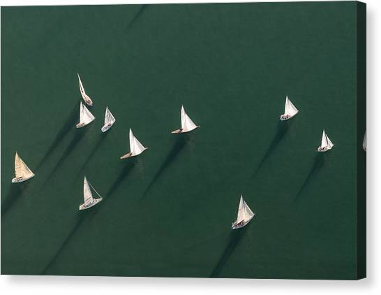 Germany, Baden-wuerttemberg, Lake Constance, Friedrichshafen, Aerial View Of Sailing Boats Canvas Print by Westend61