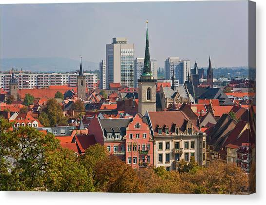 Germany, Thuringia, Erfurt, View Of City Canvas Print by Westend61