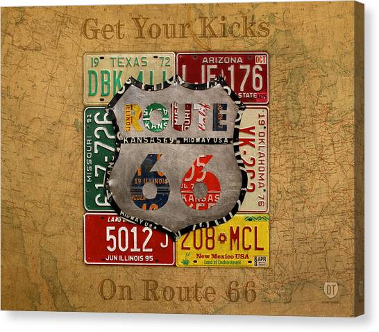 New Mexico Map Canvas Print - Get Your Kicks On Route 66 Vintage License Plate Art On Worn United States Highway Map by Design Turnpike