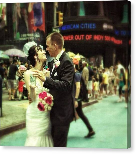 Groom Canvas Print - Getting Married @times Square by Begun B