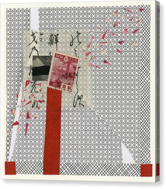 Torn Paper Collage Canvas Print - Getting The Word Out 1 by Carol Leigh