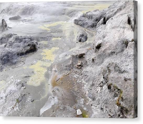 Geyser Sulfur Canvas Print by Ron Torborg