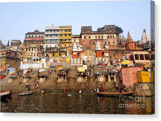 Ganges Canvas Print - Ghats In The River Ganges At Varanasi In India by Robert Preston