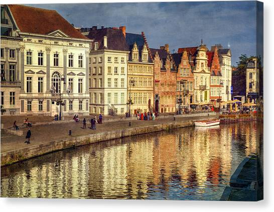 Gent Canvas Print - Ghent Waterfront by Joan Carroll
