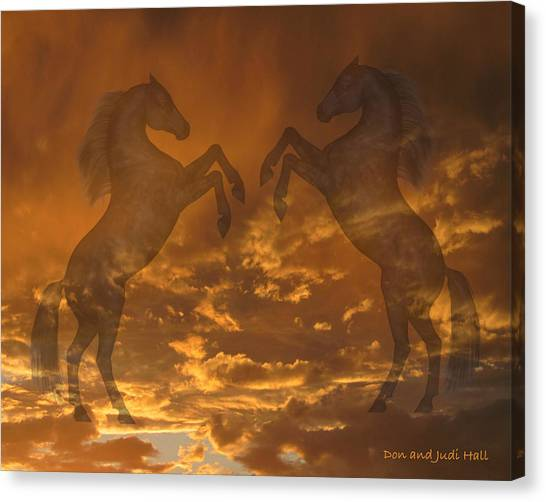 Ghost Horses At Sunset Canvas Print
