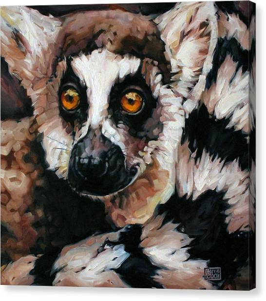 Ring-tailed Lemur Canvas Print - Ghost Of Madagascar by Carrie Cook