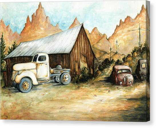 Ghost Town Nevada - Western Art Painting Canvas Print